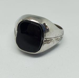 Vintage Seta Sterling Onyx Signet Ring